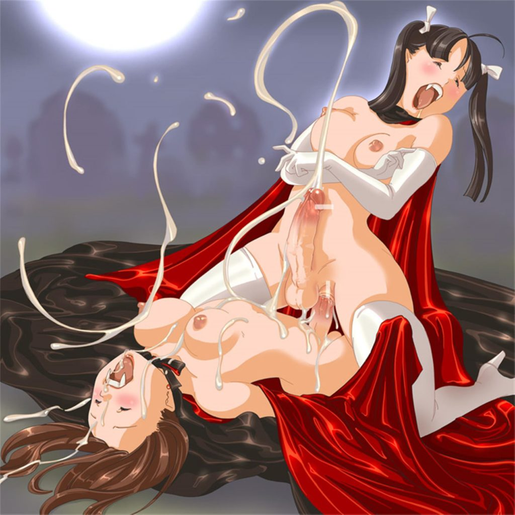 Two vampire girls having sex and shooting cum everywhere