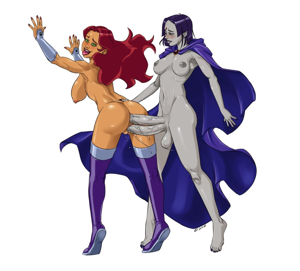 Raven is fucking Starfire with two futa dicks