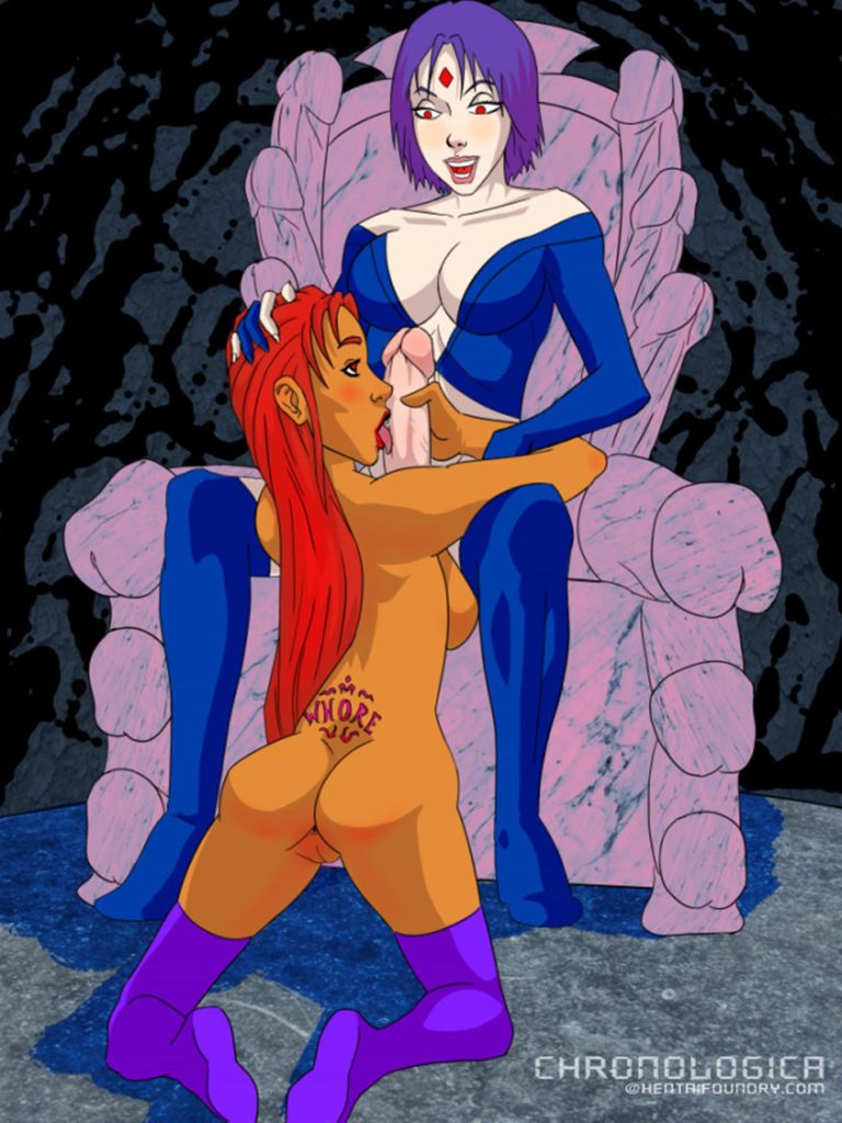 Starfire licking Ravens futa dick
