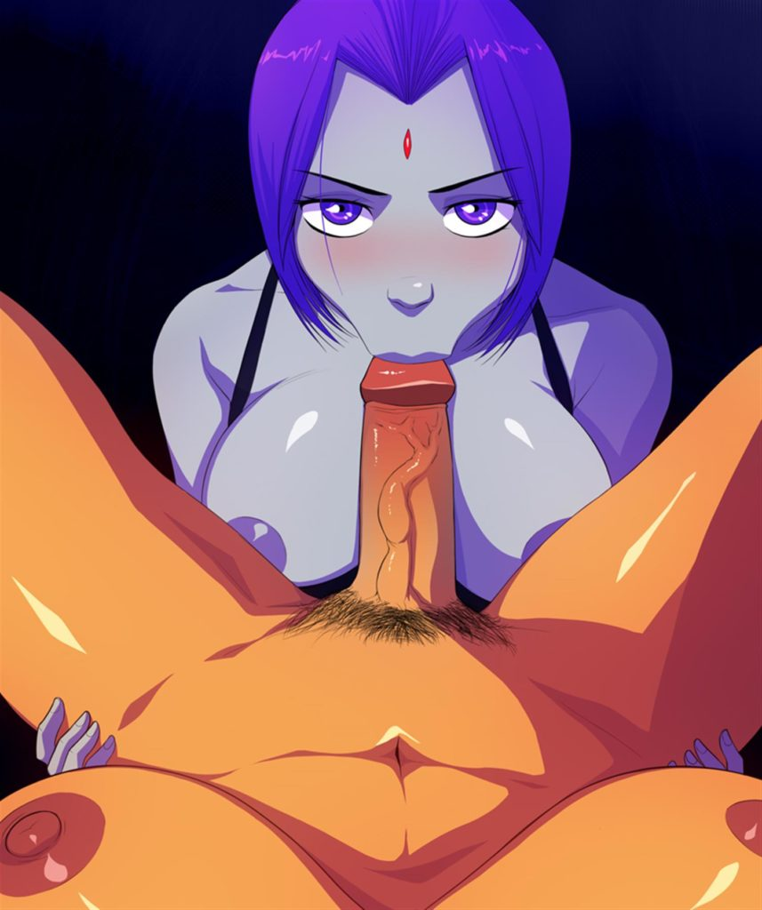 Raven giving futa Starfire a blowjob