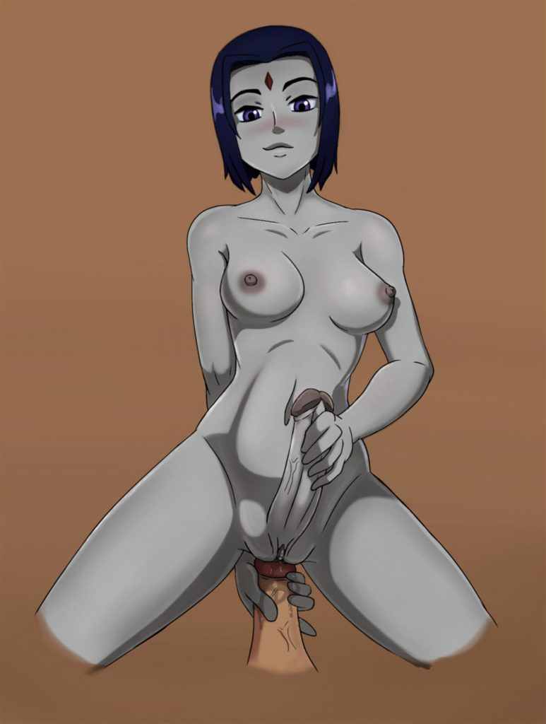 Raven jerking her futa cock while having sex