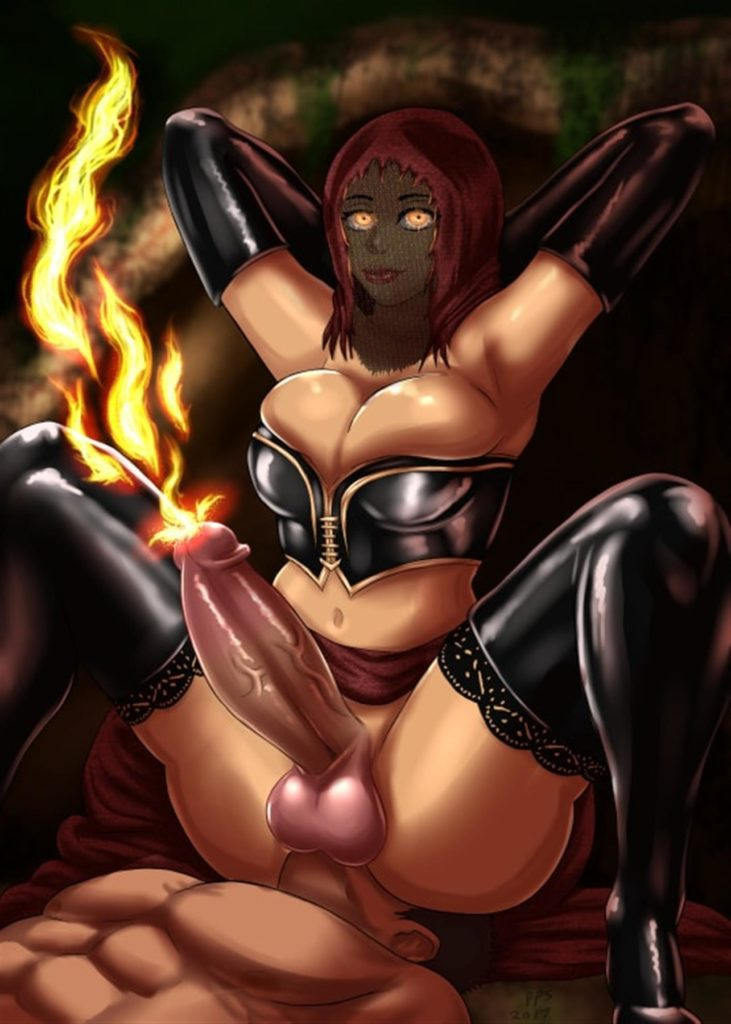 Futa Desert Pyromancer sitting on a guys face