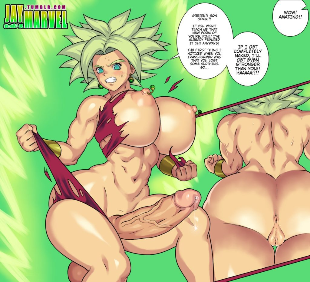Futa Caulifla tearing up her clothes