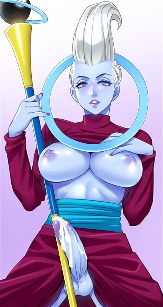 Futa Whis Angel with her tits out and dick dripping cum