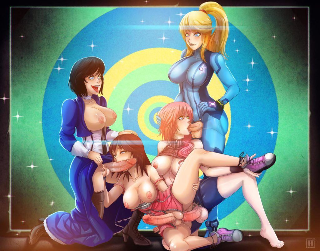 Futa orgy with Elizabeth,Lightning,Kairi and Samus Aran