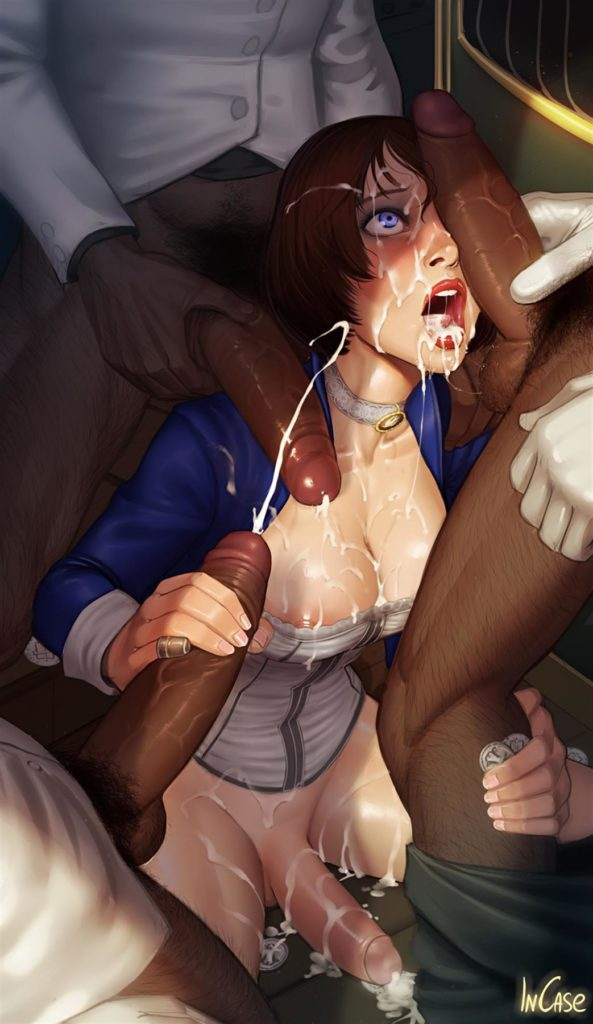 Futa Elizabeth getting covered in cum