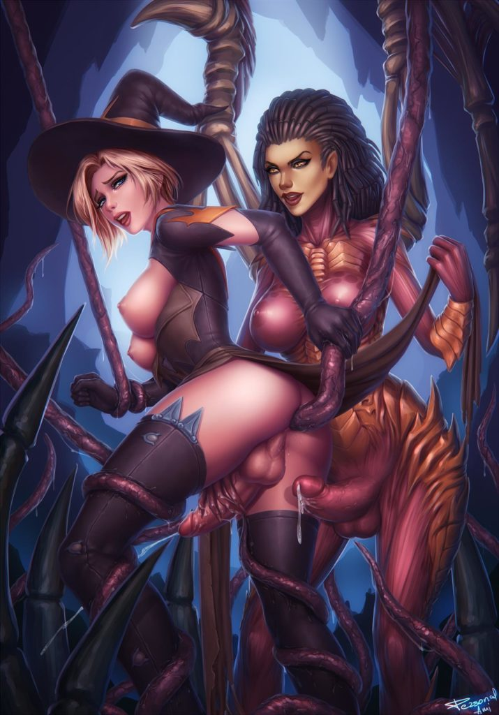 Futa Kerrigan fucking witch Mercy with tentacle dicks