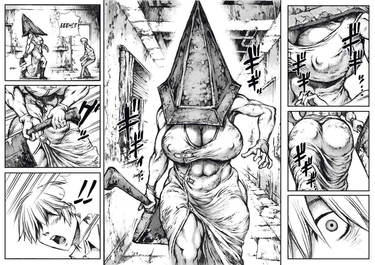 A menacing muscular female pyramid head