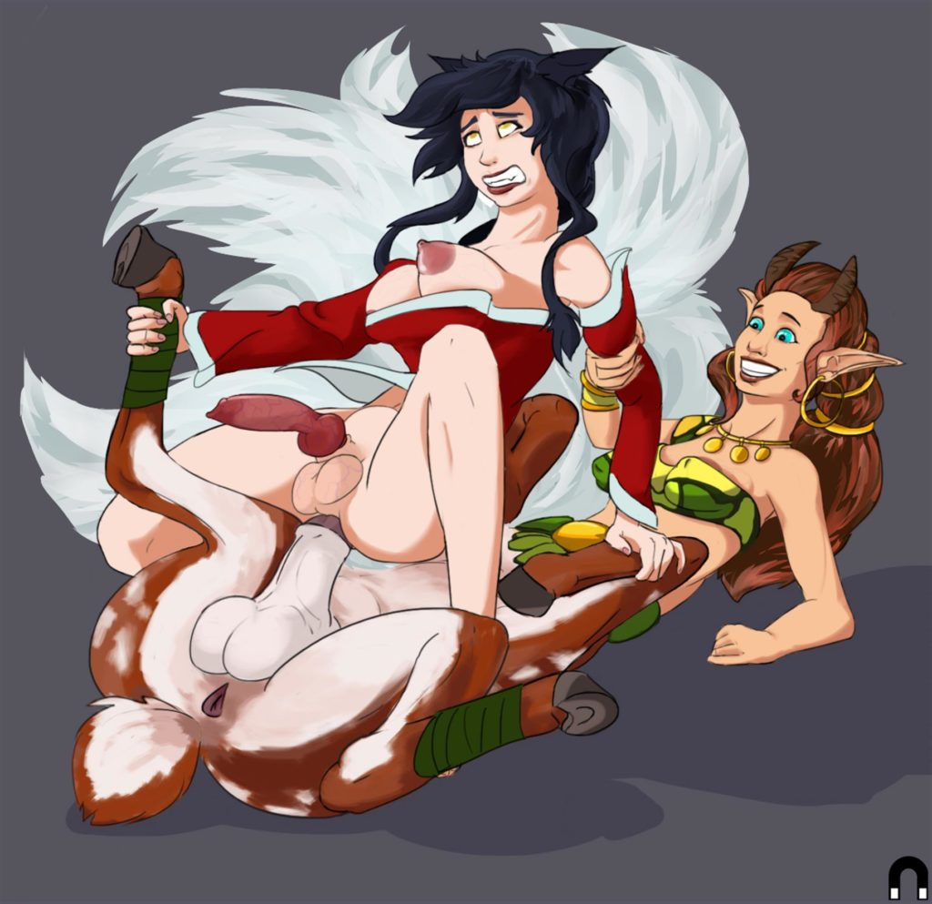 Ahri riding Enchantress's centaur futa cock