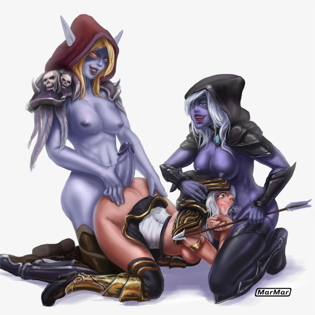 Drow ranger and Sylvanas futa fucking Ashe together