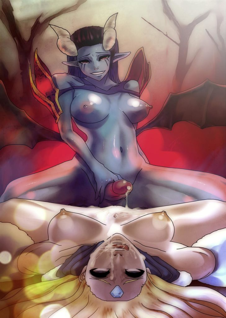 Futa Queen of Pain cumming on Rylais face