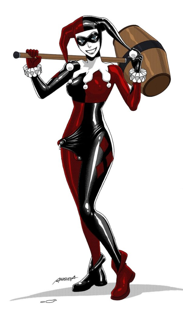 Harley Quinn's futanari dick is hard under her jumpsuit