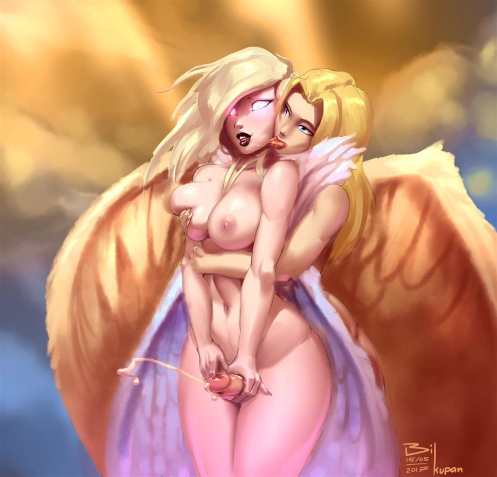 Kayle jerking off futa Morgana in heaven