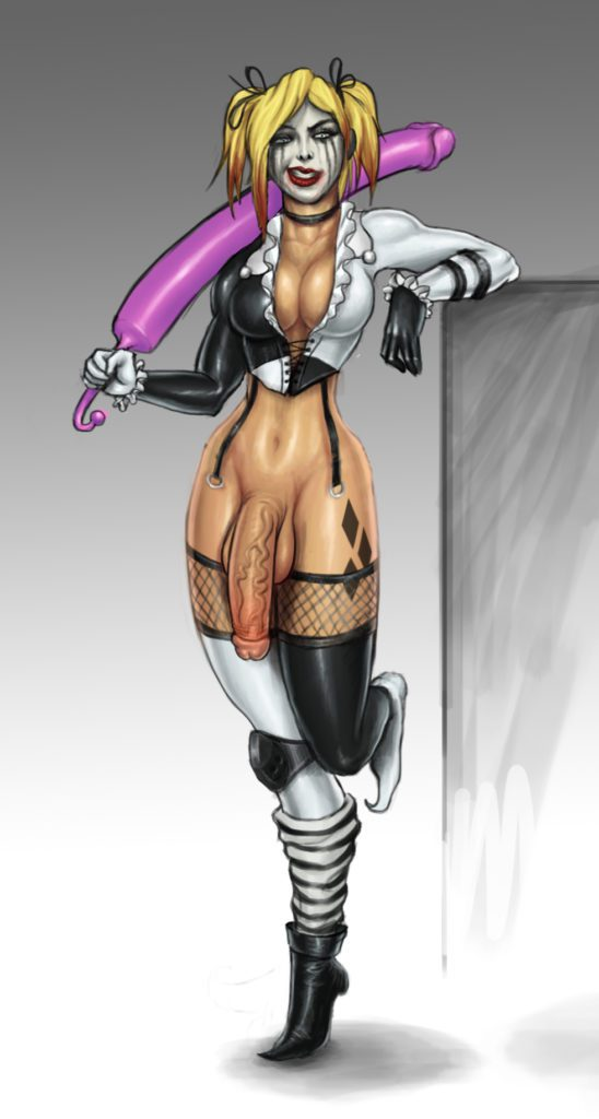 Futanari Harley Quinn with a huge dildo sword