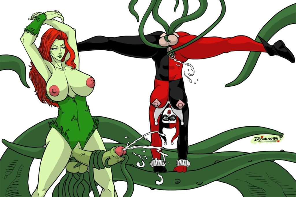 Futanari Poison Ivy jerking off herself and Harley Quinn with vines
