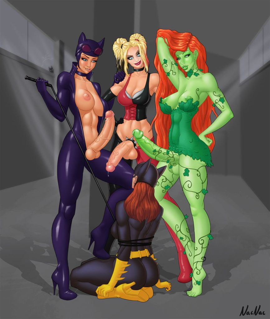 Batgirl is surrounded by futanari dicks