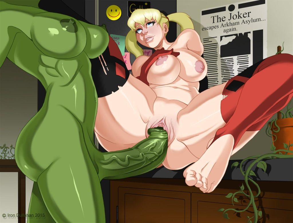 Futanari Poison Ivy fucking Harley Quinn with a giant dick
