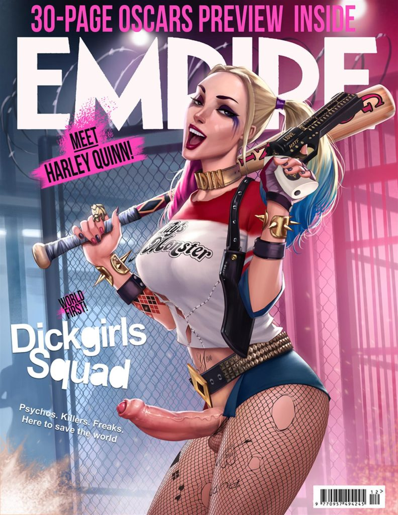 Futanari Harley Quinn from dickgirls squad on the cover of a magazine
