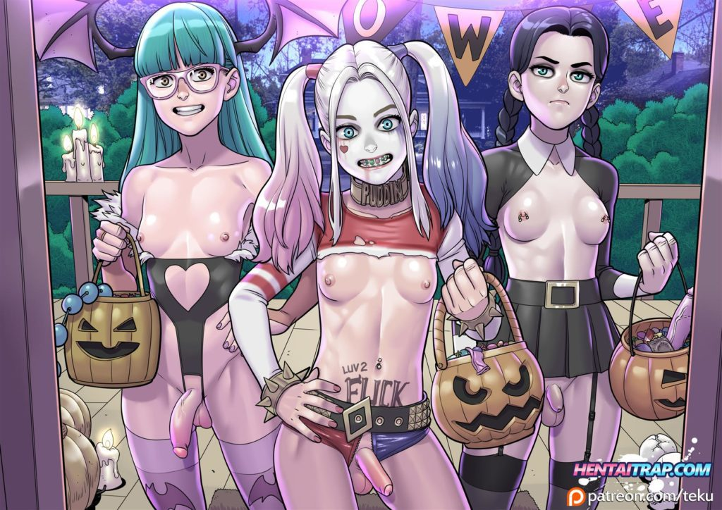 Futanari girls trick or treating on halloween - Harley Quinn,Morrigan and Wednesday
