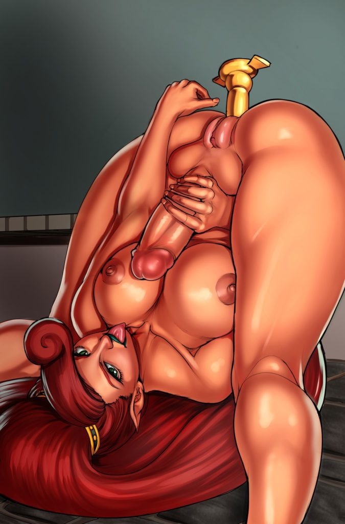 Futanari Urbosa jerking off with her legs behind her head