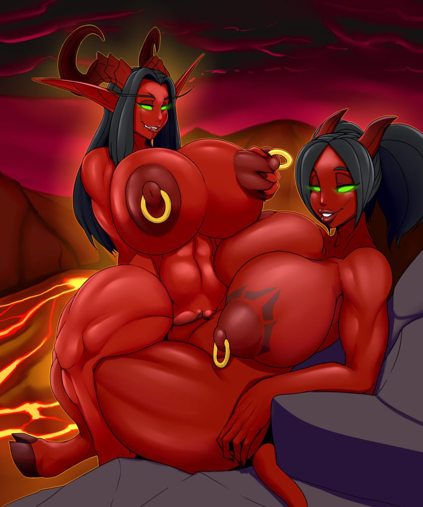 Two demonic futanari draenei having sex