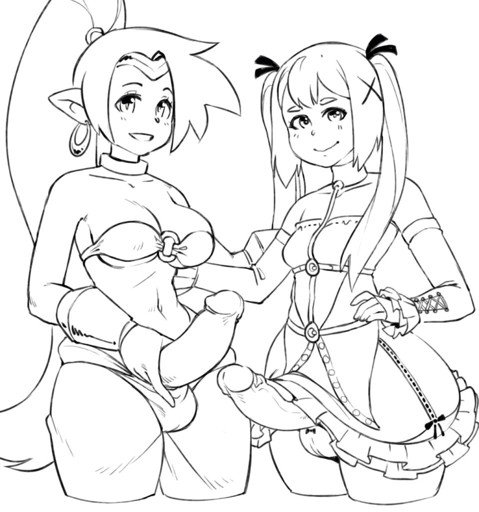 Maria Rose and Shantae with futa dicks
