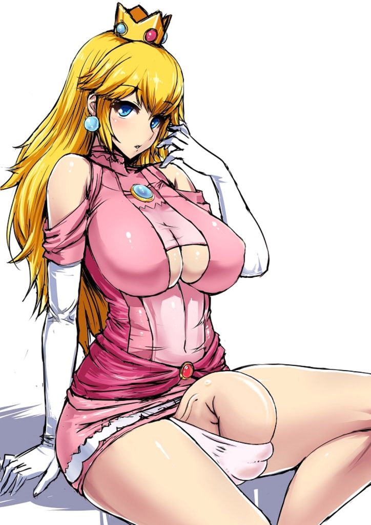 Mature big boob futa Princess Peach whos dick can barely fit in her panties