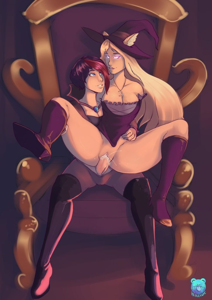 Syndra sitting on Fiora's futa dick