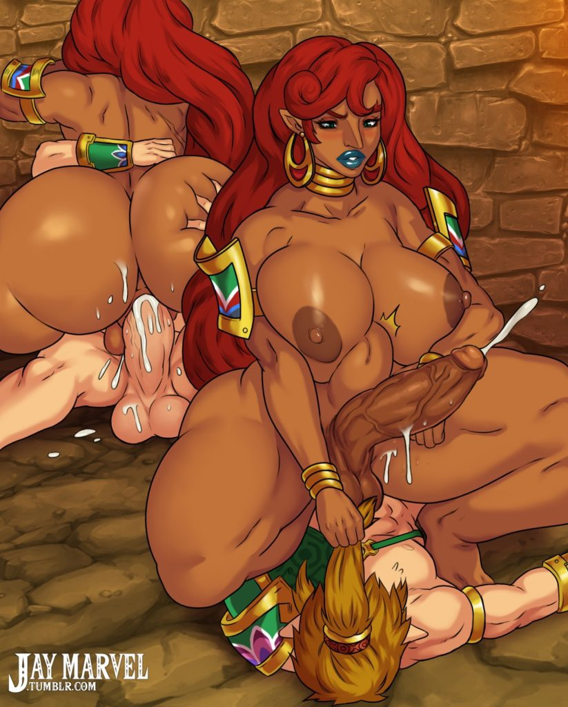 Male on futa. Futanari Urbosa riding Link's dick and cumming. She has big tits and a thick ass. Hentai Zelda porn