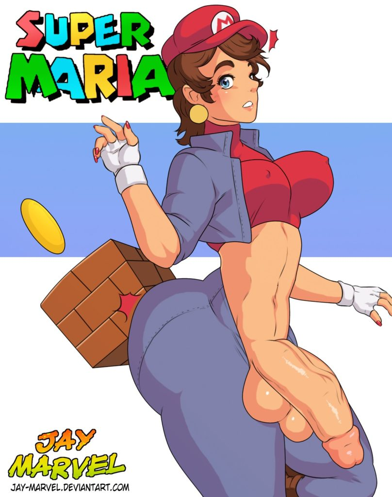Female Mario rule 63 Maria. A thick big ass futanari with a huge dick