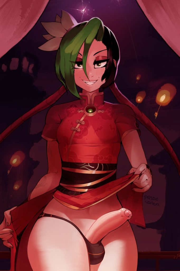 Futa Firecracker Jinx lifting up her skirt