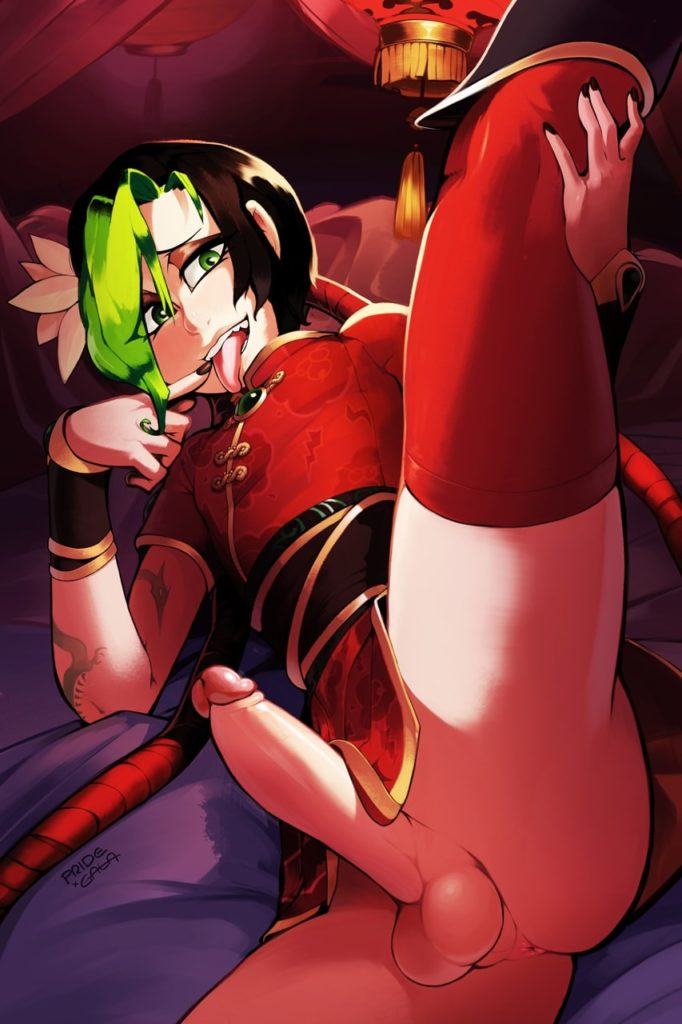 Futa Firecracker Jinx lifting up her leg