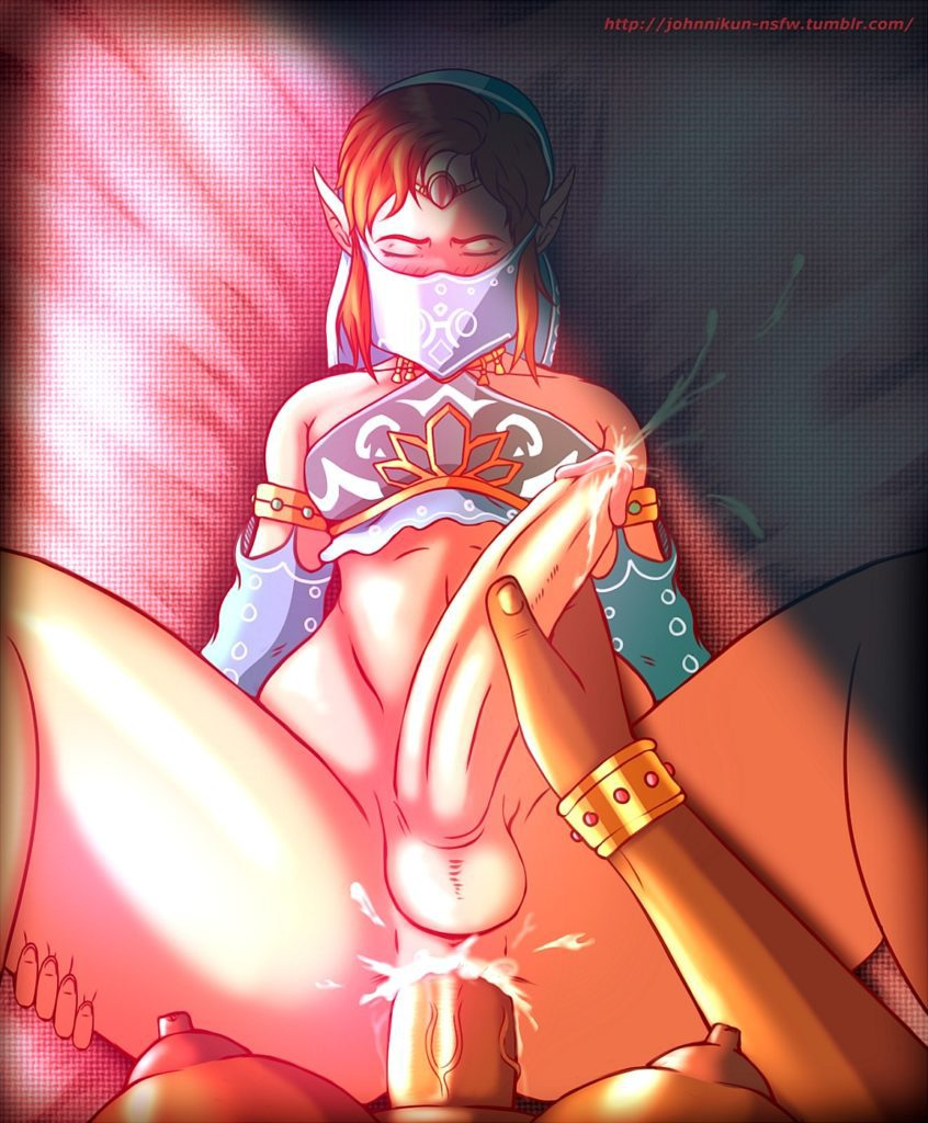 Futa Urbosa having sex with Gerudo Link while jerking him off
