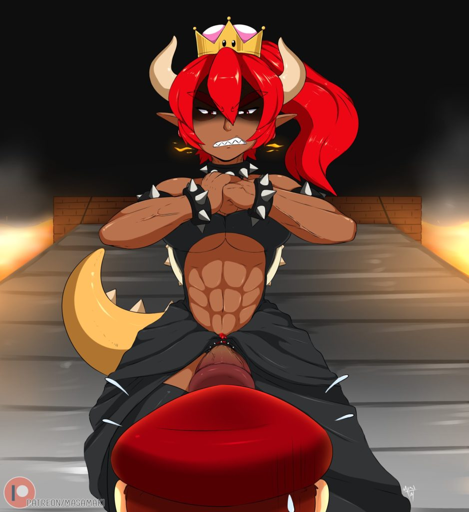 Dark skinned and fit futa Bowsette with abs facing Mario