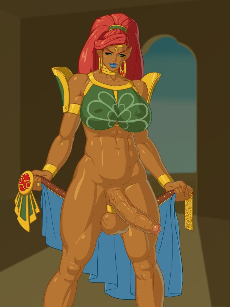 Futanari gerudo woman with a cockring on her balls