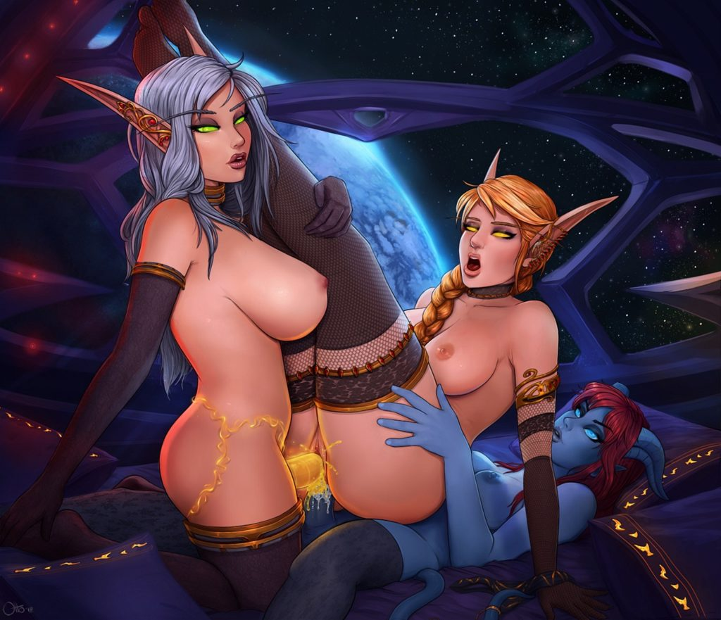 Futanari bloodelf and draenei fucking and elfs both holes at the same time