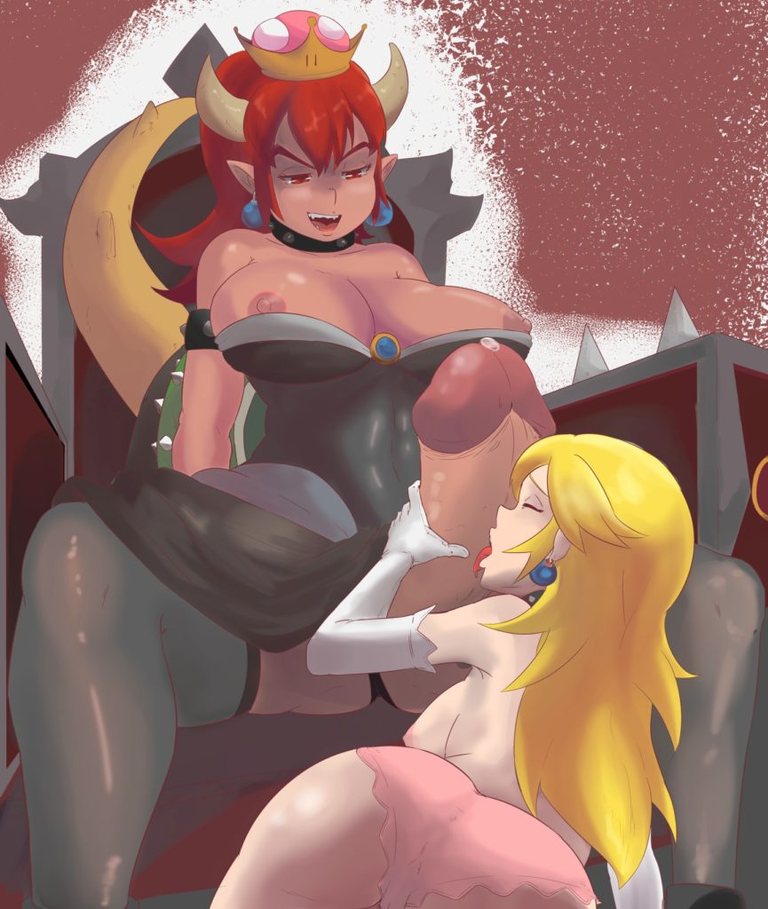 Princess Peach licking futa Bowsette's huge thick penis. Hentai