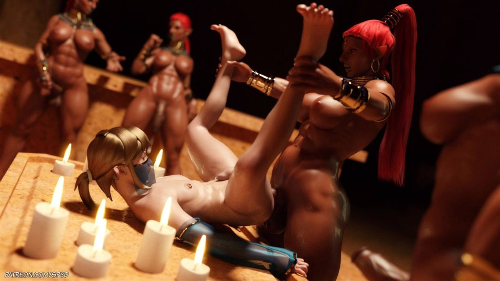 3d gerudo having futa on male sex with Link