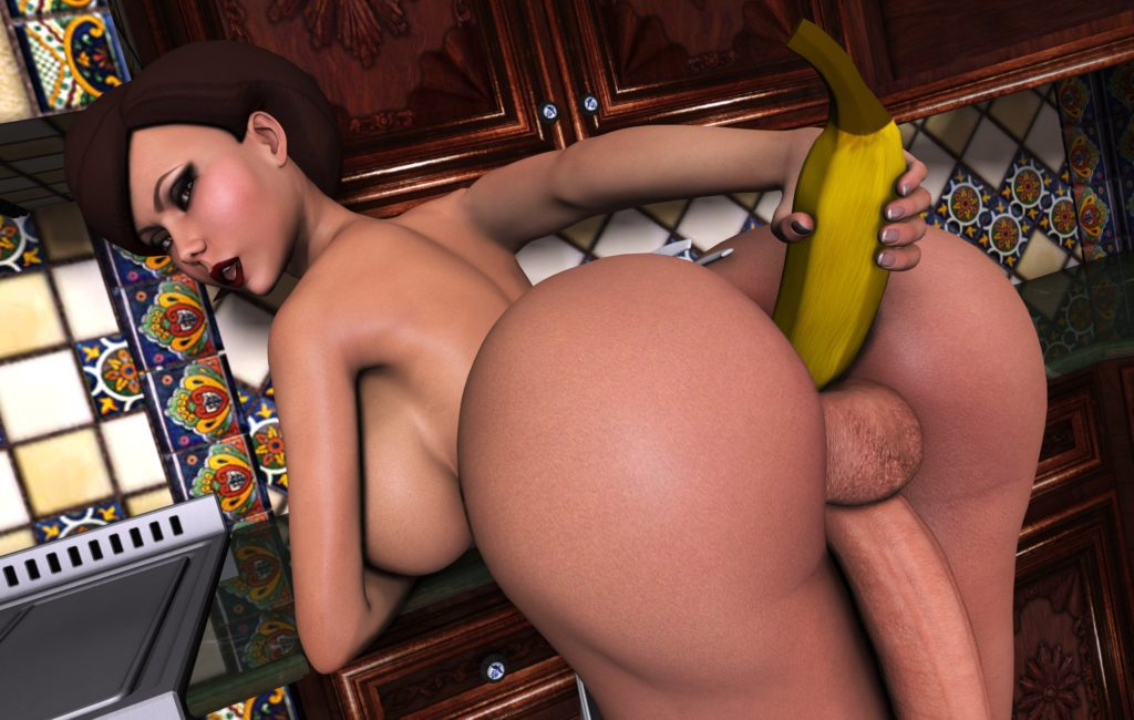 Futa Helen Parr inserting a banana in her thick ass