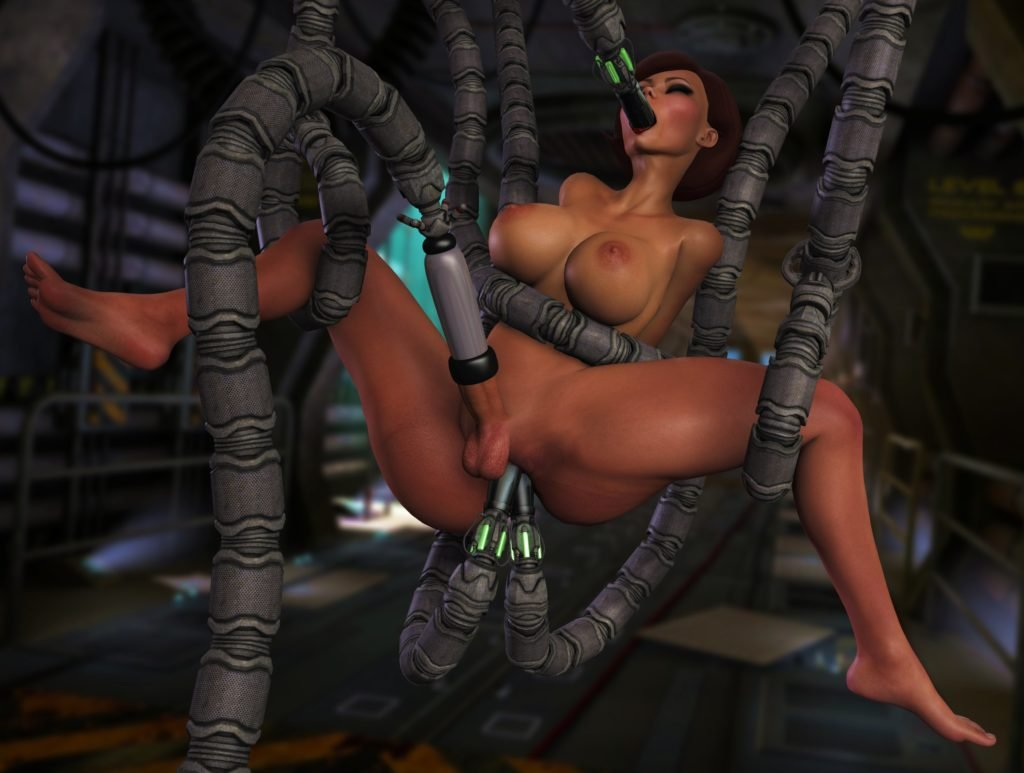 Futa Helen Parr being raped by tentacle machine
