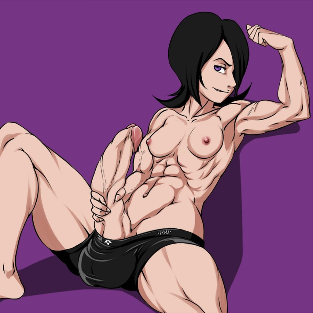 Fit and muscular futa Rukia with abs jerking off her dick