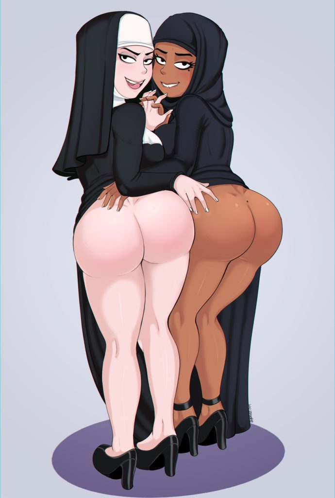 Nun and an Arab girl rubbing each others thick asses
