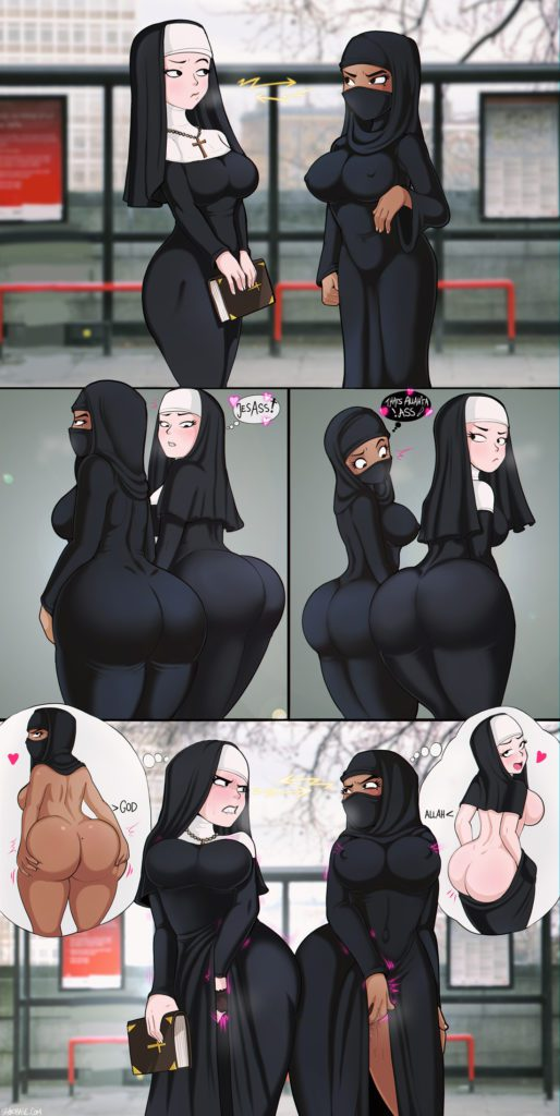 Muslim and nun eyeing each others big butts