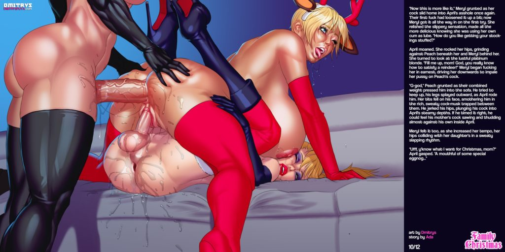 Xmas reindeer getting fucked by two futanari