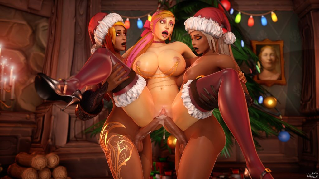 Two futa dicks in a pussy at the same time on christmas