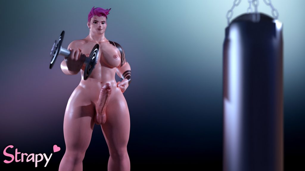 Strapy - Futanari Zarya working out Overwatch 3d hentai cartoon porn rule 34