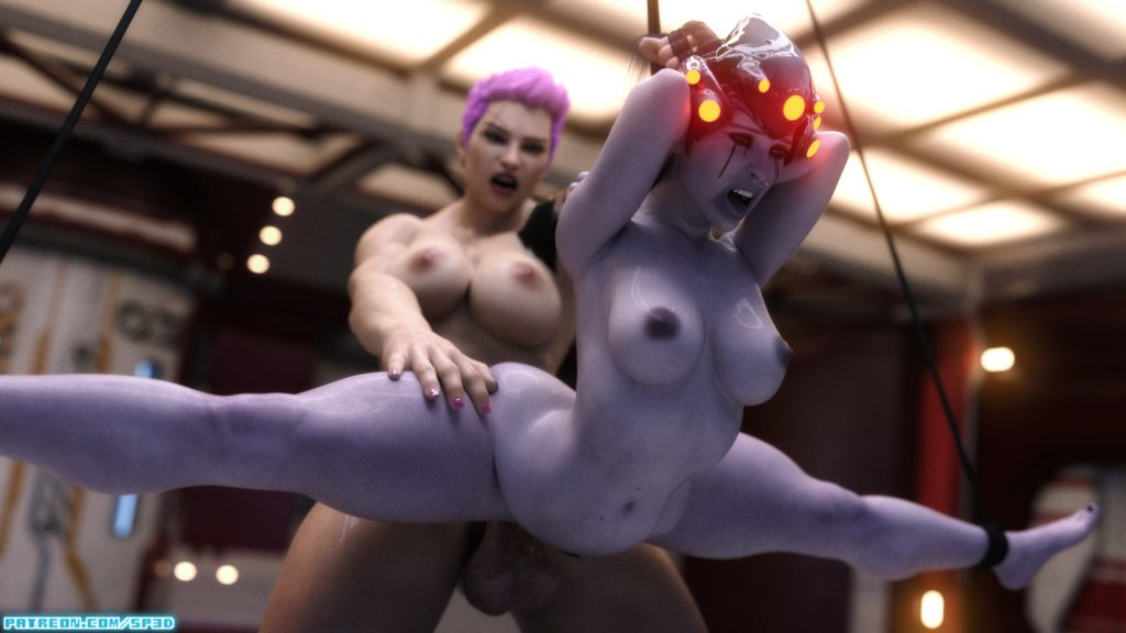 Squarepeg3d - Futa Zarya dominating tied up Widowmaker Overwatch 3d hentai cartoon porn rule 34