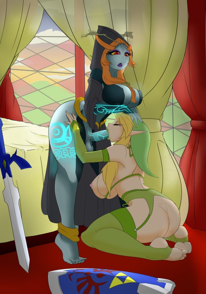 Genderbent Link or Linkle giving futa Midna a blowjob Zelda rule 34 hentai porn futanari