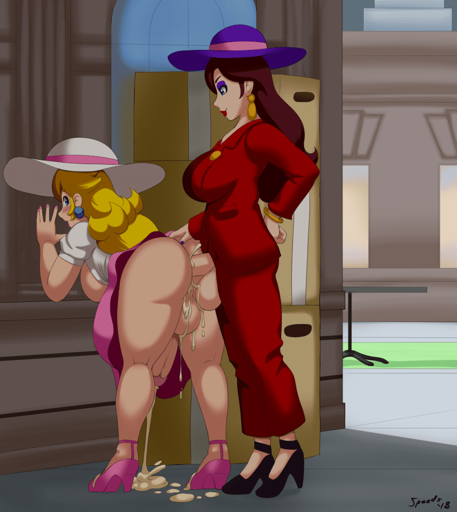 Speeds - Futa Pauline fucking Princess Peach in a dark alley nintendo super mario hentai rule 34 porn