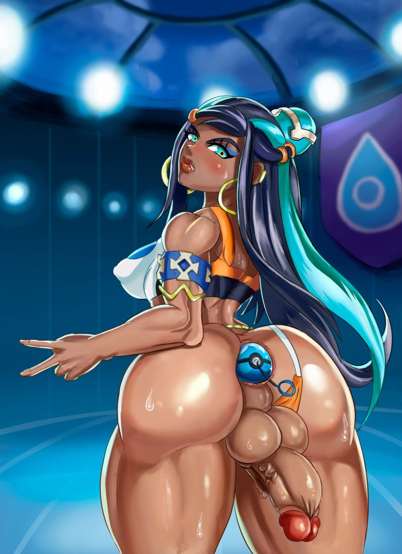 Saxwakuy - Futanari Nessa with a pokeball in her ass Pokemon porn rule 34 hentai